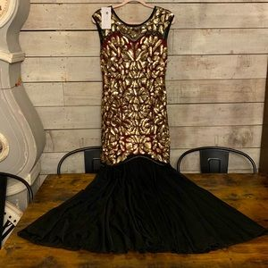 Full length gold sequins gown dress mermaid M NWT